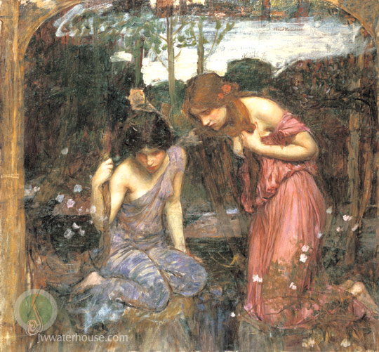 John William Waterhouse: Nymphs finding the head of Orpheus (study) - 1900