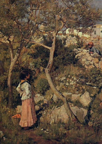 John William Waterhouse: Two Little Italian Girls by a Village - 1875